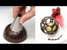 DIY - How To Make A Chocolate Sphere /Chocolate Decoration Technique - YouTube