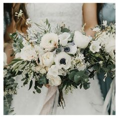 Vermont can do no wrong in our book but with a soft and romantic color palette like this one here, it's fulfilling all our wedding wishes! Olive Branch Wedding, Olive Wedding, Cream Wedding, Spring Wedding Bouquets, Bride Bouquets, Bridal Flowers, Bridal Bouquet White, Anemone Bouquet, Marie
