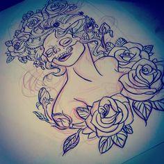 skull masked woman sleeve by heartsandanchors.deviantart.com on @deviantART