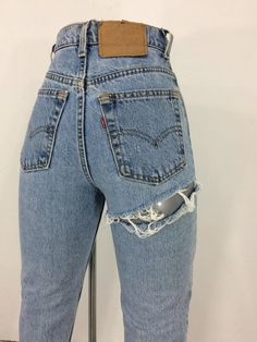 Your place to buy and sell all things handmade Diy Distressed Jeans, Cute Ripped Jeans, Ripped Jeans Outfit, Jeans Outfit Summer, Cut Jeans, Levis Jeans, Good Jeans, Denim Overalls, Hollister Jeans