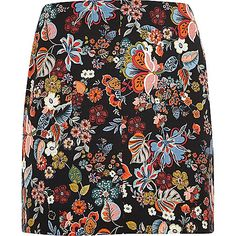 RI Plus collection Woven fabric Floral print Back zip fastening Mini length