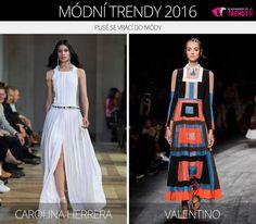 Módní trendy 2016 – plisé se vrací do módy. (Zleva: Carolina Herrera a Valentino.)