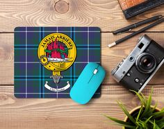 Rubber mousemat with Douglas clan crest and tartan - only from ScotcCans