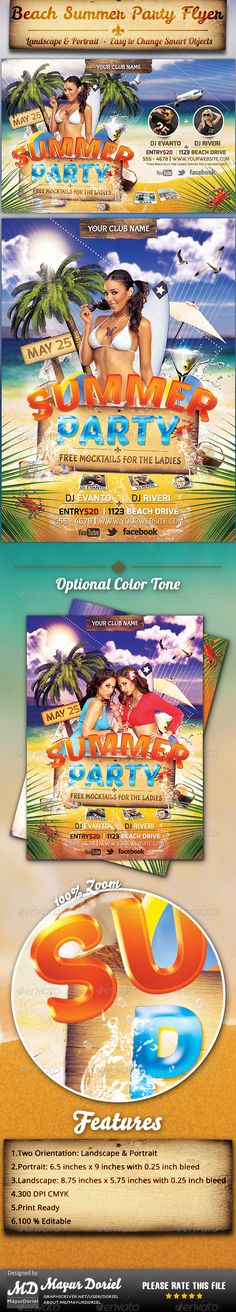 Summer Flyer Party flyer, Font logo and Flyer template - summer flyer template
