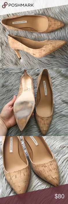 """DVF Cork Pointed Toe Pump Absolutely Gorgeous shoe! Excellent condition to the shoe, only wear is to the bottom where the tag and try ons show. Great approx. 3"""" heel thats comfortable and stylish. No trades! 10901161171 Diane von Furstenberg Shoes Heels"""