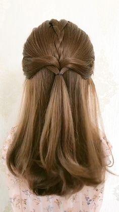 Easy Hairstyles For Thick Hair, Hair Tutorials For Medium Hair, Hairdo For Long Hair, Braids For Short Hair, Girl Hairstyles, Braided Hairstyles, Hair Ponytail Styles, Front Hair Styles, Short Hair Styles Easy