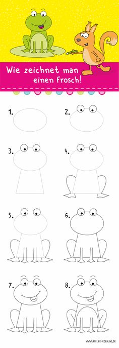 Ever wanted to know how to draw a frog? - Zeichenanleitungen - Kreatives und Konfett by ilka - Disney Art Drawings, Web Paint, Happy Cartoon, Belly Painting, Sketch Notes, Happy Paintings, Coloring Pages For Kids, Easy Drawings, Creative Art