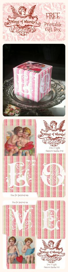 Wings of Whimsy: Vintage Block of Love Gift Box - free for personal use #vintage…