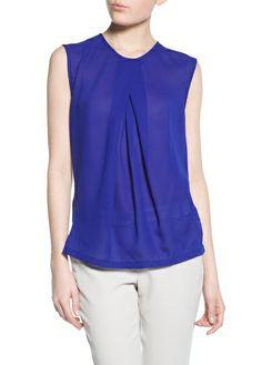 Contrast chiffon blouse - Royal Blue .. Love the look.. MANGO