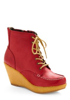 10/11/11 cherry pie-colored leather lace-up bootie wedge. Happy Birthday Daryl Hall, Artie Lange & Emily Deschanel!