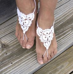Barefoot sandals  pure white  wedding yoga by Rukodelnitsa on Etsy, $15.00