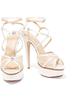Shop on-sale Charlotte Olympia Isadora embellished satin and mesh sandals . Browse other discount designer Sandals & more on The Most Fashionable Fashion Outlet, THE OUTNET.COM