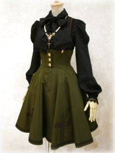 military-style outfit with button up blouse, high-waisted corset skirt and suspenders