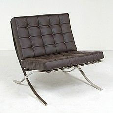 Mies Style: Exhibition Chair - Java Brown Leather (In-Stock Products: Ready to Ship). Modern Classic, Mid-century Modern, Modern Sofa, Selling Furniture, Living Room Modern, Living Rooms, Barcelona Chair, Scandinavian Modern, Grey Leather