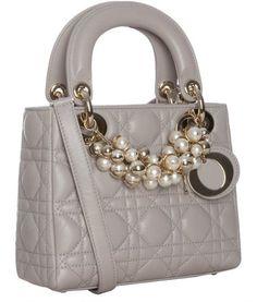 Dior Grey Cannage Lambskin Lady Beaded Mini Tote Bag