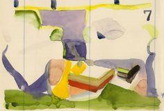 Study no 7 original watercolor on vintage by annamariapotamiti
