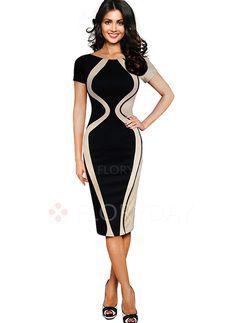 Dresses - $51.69 - Cotton Polyester Color Block Short Sleeve Mid-Calf Elegant Dresses (1955105461)