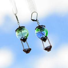 Steampunk Earrings  Hot Air Balloon Earrings by singlewhitepixel, $30.00