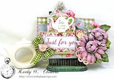 Hug in a Cup Tea Bag Holder High Tea by Kathy Clement for Tammy Tutterow Designs Product by Kaisercraft Photo 1