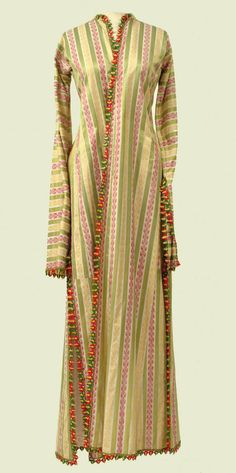 Ottoman robe of silk and green white stripes, the white with supplementary weave of gold and red stylized leaf motif. Deep side vents and large open cuffs.