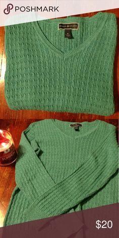 Karen Scott Teal Sweater, M This is a new condition Karen Scott teal v-neck sweater with knit detail. 100% cotton. Size Medium. Soft feel. Karen Scott Sweaters V-Necks
