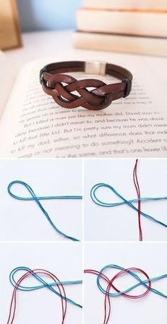 Wire Rings Tutorial: How to make wire rings wrapped in wire How To Make an Infinity Knot DIY Infinity Knot Bracelet Leather bracelets for men Bracelets for men Bracelet En Cuir Diy, Bracelet Fil, Diy Leather Bracelet, Bracelet Knots, Leather Jewelry, Diy Leather Rings, Wire Jewelry, Beaded Jewelry, Handmade Jewelry