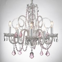 Gallery 74 A46-B2/384/5 Murano Venetian Style MURANO VENETIAN STYLE ALL-CRYSTAL CHANDELIER WITH COLOR CRYSTAL!
