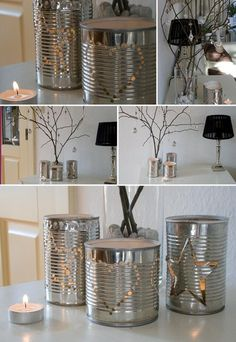 spray paint with a non-flammable white paint and use drill to make decorations on it.  Like snowflakes .. tree.. etc.