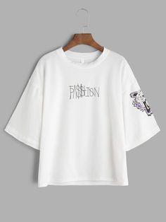 White Letter Print Drop Shoulder T-shirt Moda Coreana 0d34a5551a6