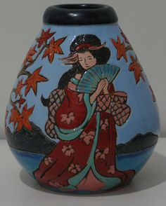 """""""Lady of the Orient"""" Vase thrown and Turned by Mac Treliving, carved and Glazed by Anna Evans in Napier July 2012"""