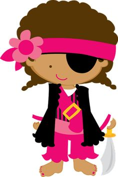 PIRATAS MENINAS - Minus Pirate Kids, Pirate Party, Felt Dolls, Paper Dolls, Pirate Clip Art, Tangle Doodle, Cute Clipart, Paper Piecing Patterns, Happy B Day