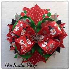 Christmas Bow  Sparkling Red and Green Christmas by TheSadieShop, $7.99