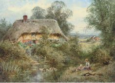 Henry John Sylvester Stannard - Two children sittling on a riverbank before a thatched cottage