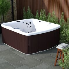 Lifesmart Spas Lifesmart LS550 Plus 230v 5-Person 45-Jet Hot Tub with Ozonator & Reviews   Wayfair.ca Underwater Led Lights, Hot Tub Backyard, Waterfall Features, Safety Cover, Backyard Paradise, Sparkling Clean, Relax, Spas, Espresso