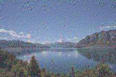 Lassen sich in diesem Foto mehr Dinge erkennen als ein Fluss und ein Himmel, Berge und Bäume? Entwickler von Google haben ein neuronales Netzwerk angewiesen, nicht mit dem Rechnen aufzuhören, bis es mehr erkennt - was auch immer es sein mag.