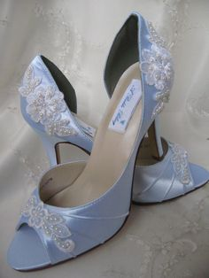 Something Blue Wedding Heels, Blue Satin Bridal Peep Toe Heels ...
