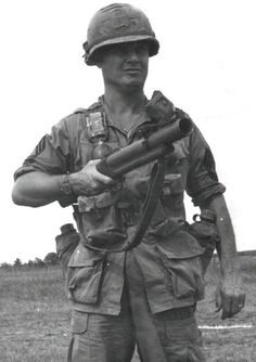 """MSG Claude Yokom, HHC 2/1 INF, 196 Infantry Brigade, with his M79 40mm grenade launcher.  The M79, affectionately called the """"Thumper"""" or """"Blooper"""" for its distinctive sound, fires a variety of ammo including high-explosive (HE), anti-personnel (buckshot), smoke, and flares."""