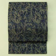 Navy, vintage zentsu fukuro obi / 紺地織りと染めの植物柄全通袋帯
