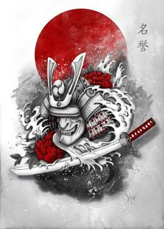 print on metal Illustration samurai honor warrior red katana … Kabuto Samurai, Ronin Samurai, Samurai Warrior, Japanese Artwork, Japanese Tattoo Art, Japanese Tattoo Designs, Hannya Tattoo, Samurai Artwork, Filipino Tattoos