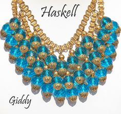 Grand & Outstanding Miriam Haskell Blue Crystal Bib, ca 1930's