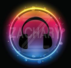 Music Theme Bar & Bat Mitzvah Ideas - Cool Neon Glow Headphones Logo Design by Cutie Patootie Creations - mazelmoments.com