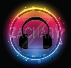 Music Theme Bar & Bat Mitzvah Ideas - Cool Neon Glow Headphones Logo Design by Cutie Patootie Creations - mazelmoments.com