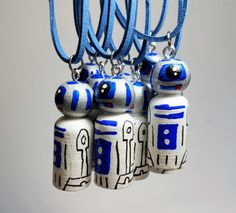 R2D2 Inspired Peg Doll Necklace Unique Hand Painted Jewelry