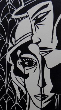 Linogravure originale / Retro / Portrait / Couple / Amour /