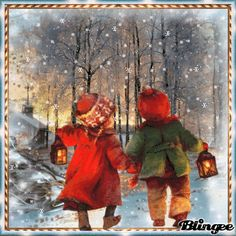 Heimweg im Winter - awayspin Christmas Photos, Christmas And New Year, Vintage Christmas, Christmas Cards, Merry Christmas, Birthday Photo Frame, Birthday Photos, Snowy Weather, Gifs