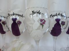 Personalized Wine Glasses for Bridesmaids | Personalized Hand Painted Bridesmaid Dress Wine Glasses - CUSTOM DRESS ...