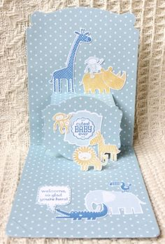 Zoo Baby Pop N Cuts - inside card - Soft Sky, Marina Mist & So Saffron Baby Baby Baby Oh, Baby Pop, Cute Baby Puppies, Baby Announcement Cards, New Baby Cards, Births, Baby Shower Cards, Pop Up Cards, Paper Cards