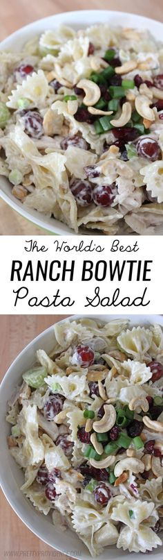 Best ranch bowtie pasta salad in the history of EVER. A total crowd pleaser, I get asked for this recipe all the time!