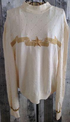 St. John Evening by Marie Gray Beaded Metallic Sweater Top Blouse Size Large #StJohn #SweaterTop