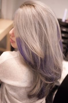 Gallery For > Grey Purple Ombre Hair Grey Hair With Purple Highlights, Purple Grey Hair, Lavender Highlights, Purple Ombre, Purple Streaks, Peekaboo Highlights, Violet Hair, Grey Ombre, Burgundy Hair